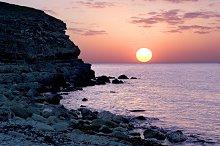 Crimean seashore at sunset