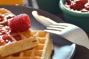 Waffles with raspberry marmalade