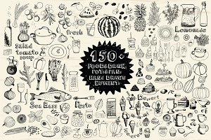 150+ Hand drawn elements Food&Drink