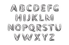 Hand Drawn Letter. Alphabet.