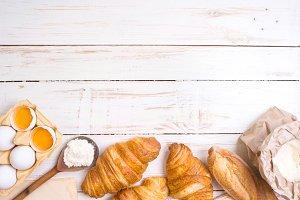 Croissants, baguette, flour, eggs