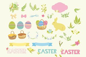 Happy Easter clip art vector set