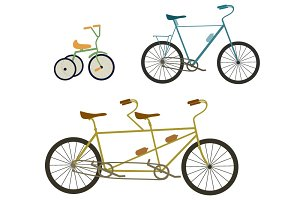 Bicycle, tandem bike vector set
