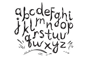 Hand Drawn Alphabet. Letter.