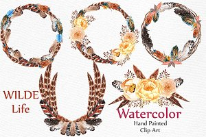 Watercolor feather wreaths clipart