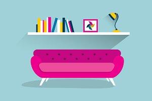 Pink retro sofa with shelf.