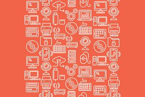Computer Technology Seamless Pattern