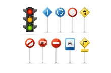 Traffic Light and Road Sign Set