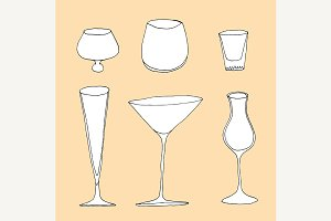 Set of different glass