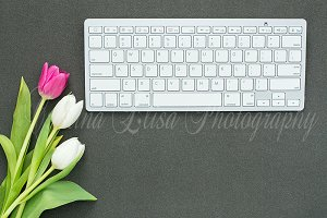 flower, keyboard mockup, black desk