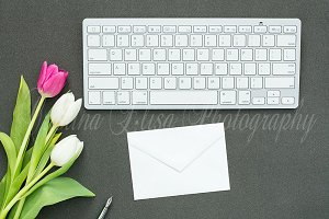 Styled Card Mockup, black desk tulip