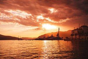 Sunset over sea marina