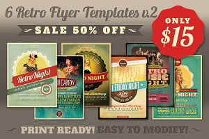 SALE: 6Retro Flyer Templates v.2