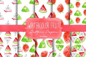 Watercolor Fruit Pattern Papers