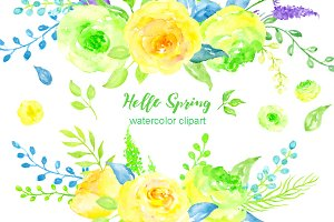 Watercolor Clipart Hello Spring