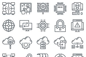 Internet and technology icon set
