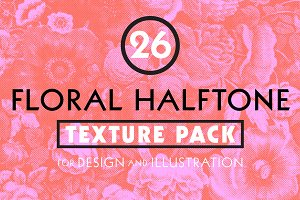 Halftone Vintage Floral Texture Pack