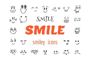 Set of emoticons icons. Smile
