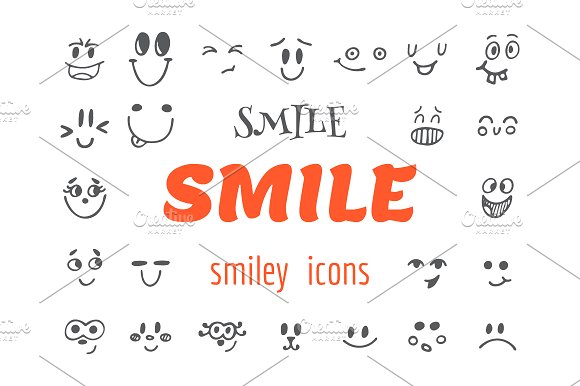 Set of emoticons icons. Smile - Illustrations