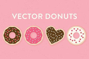 Vector Sprinkle and Heart Donuts