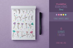 Floral Vector Elements Set + Pattern