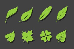 Vector leaves green icon set