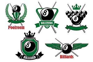 Pool, snooker and billiards icons