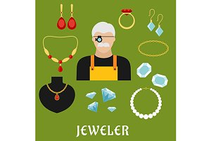 Jeweler and jewelry flat icons