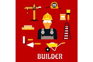 Builder and construction flat icons