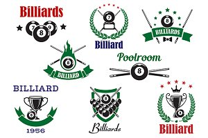 Billiards and pool sports icons
