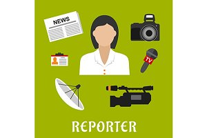 Reporter profession flat icons