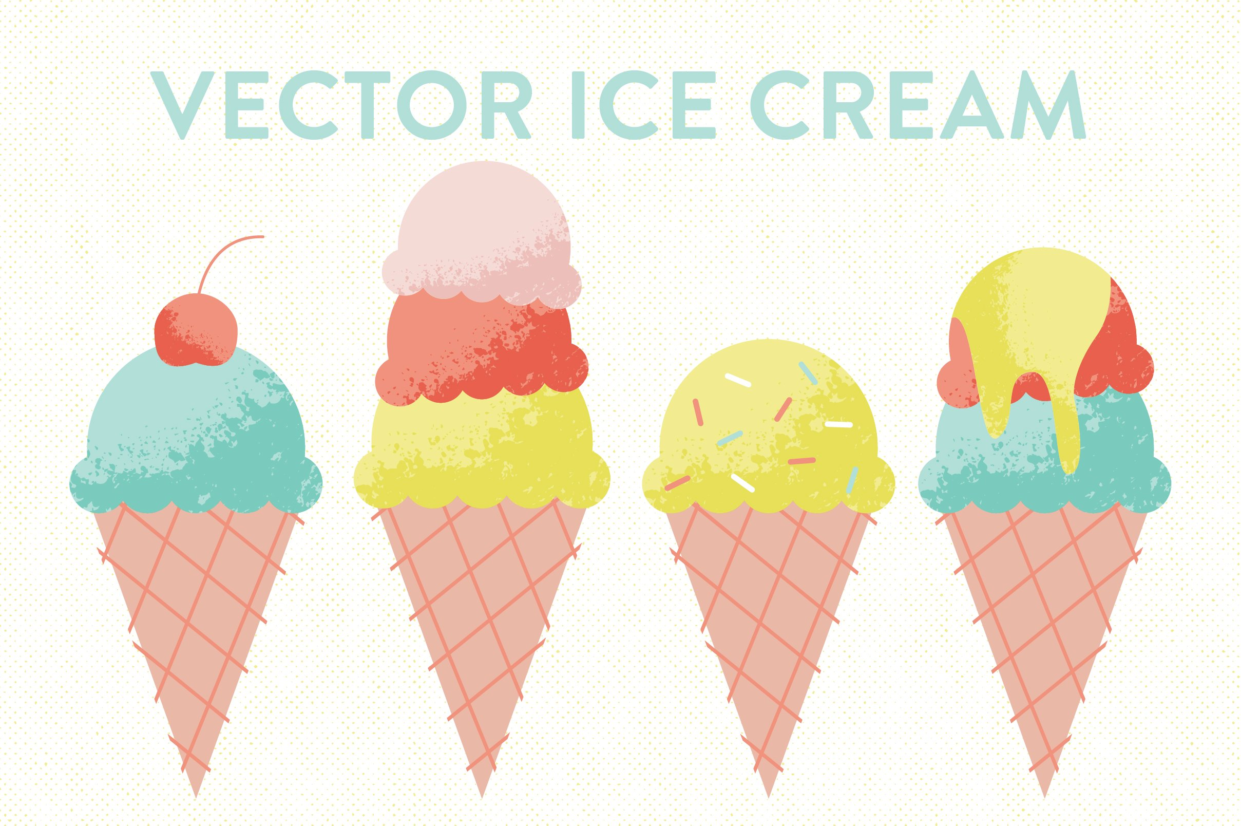 vector ice cream cones illustrations creative market. Black Bedroom Furniture Sets. Home Design Ideas