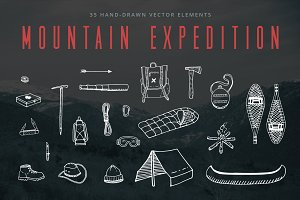 Hand-Drawn Mountain Expedition