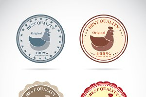 Set of vector an hen label