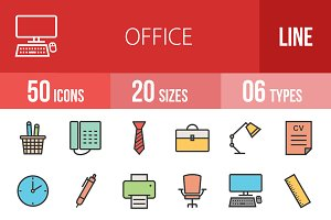 50 Office Line Filled Icons