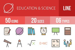 50 Education Line Filled Icons