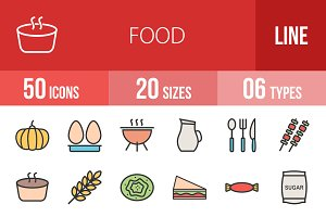 50 Food Line Filled Icons