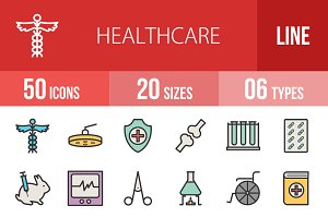 50 Healthcare Line Filled Icons