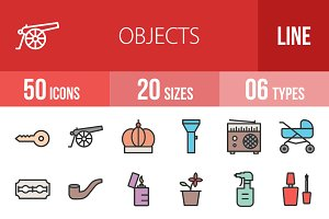50 Objects Line Filled Icons