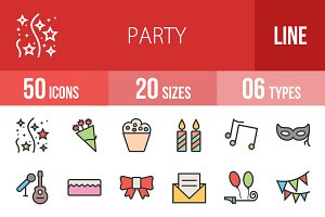 50 Party Line Filled Icons
