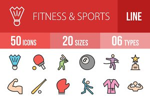 50 Fitness & Sports Line Filled Icon