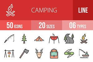 50 Camping Line Filled Icons