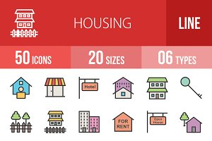 50 Housing Line Filled Icons