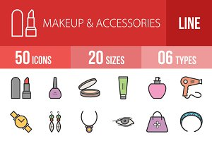 50 Makeup Line Filled Icons