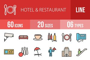 60 Hotel Line Filled Icons