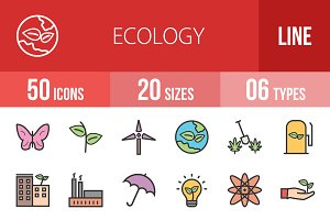 50 Ecology Line Filled Icons