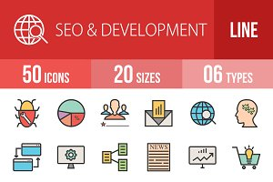 50 SEO&Development Line Filled Icons