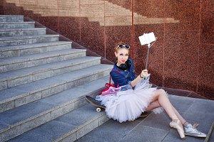 Ballerina hipster. Selfie on street