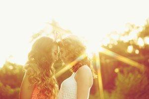 Best girlfriends. Sunset