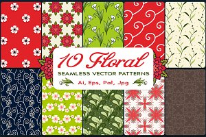 10 Floral Vector Seamless Patterns